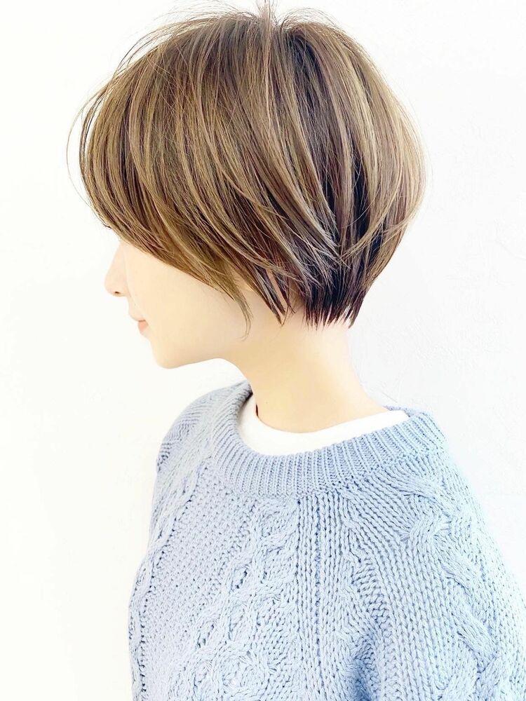 大人可愛いひし形前髪マッシュショートヘア