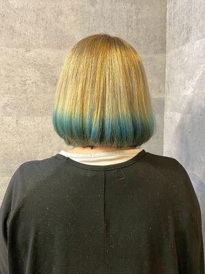 ミディアムボブ 裾カラー