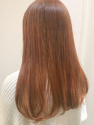 韓国人風カラーのビビットオレンジでガーリーヘア