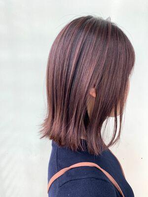 Zina/福井崇洋/ミディアムボブ/すもーきーピンク