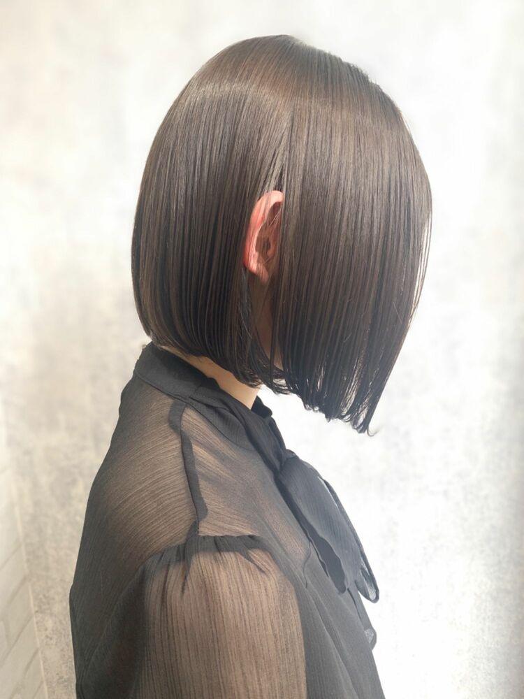 Zina/福井崇洋/切りっぱなしボブ/グレージュ
