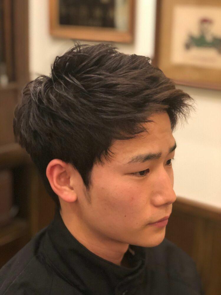 かりあげ×アップバング ヒロ銀座/田町理容室/田町床屋/メンズカット