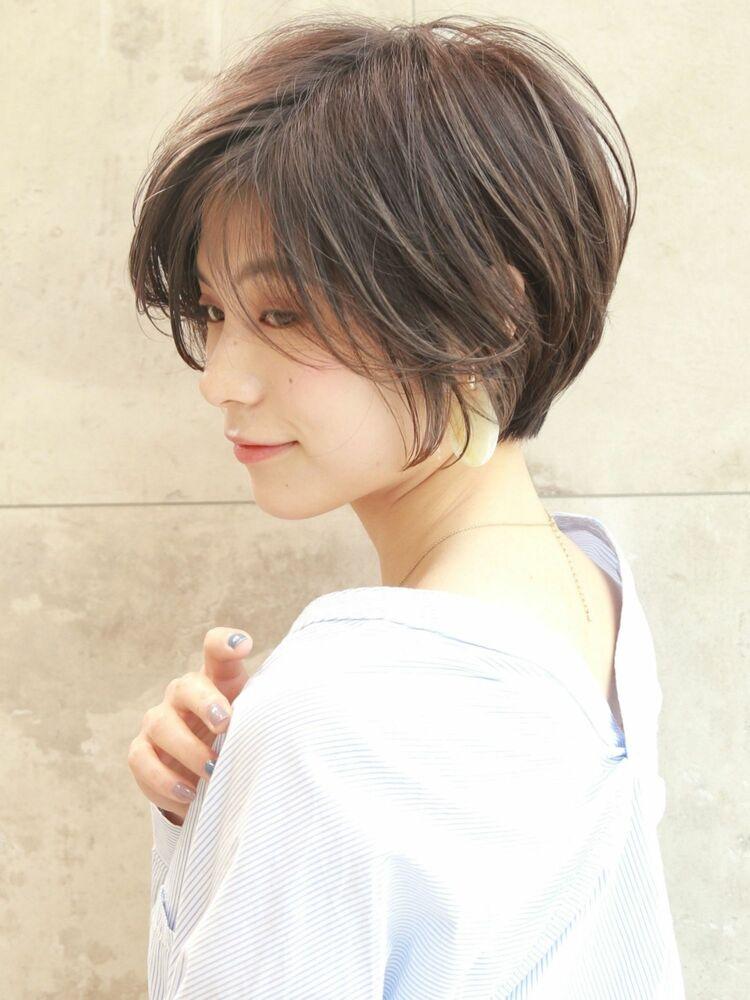 25歳〜30代前髪長め×丸みショート
