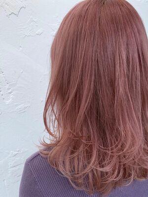 透明感ピンクアッシュ×セミロングレイヤー