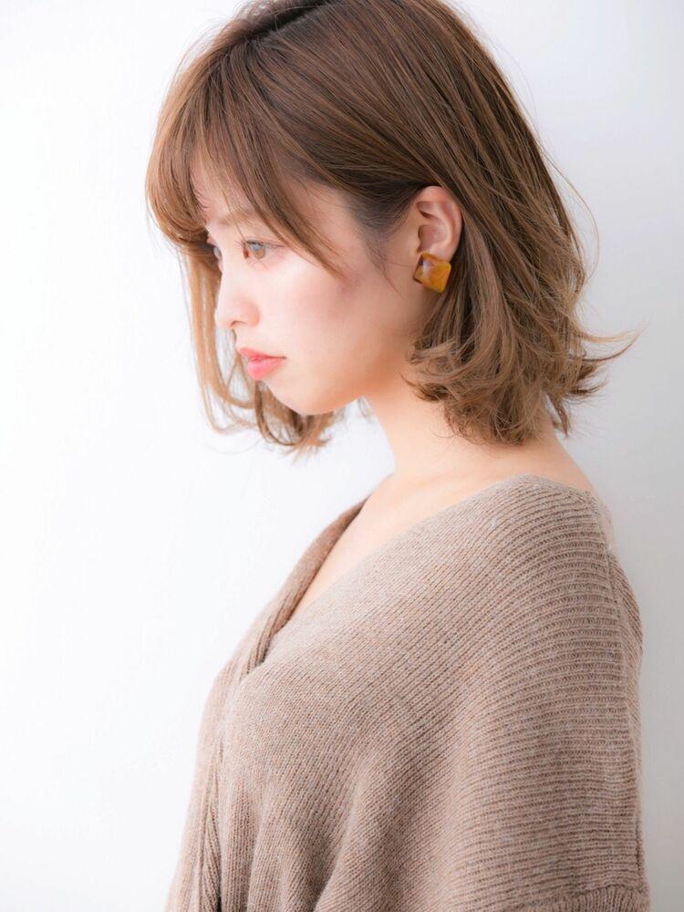 ひし形シルエット☆小顔効果ありワンカールロブ