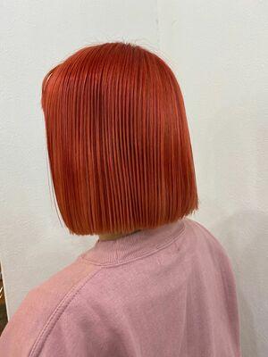 ブリーチ+カラーでフラッシュオレンジボブ!