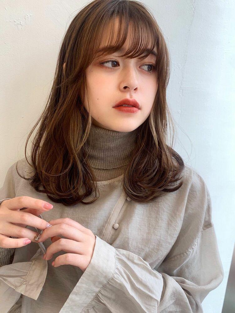 柔らかな質感のデジタルパーマ セミディ ゆるふわヘア 自由が丘美容室 アフロート