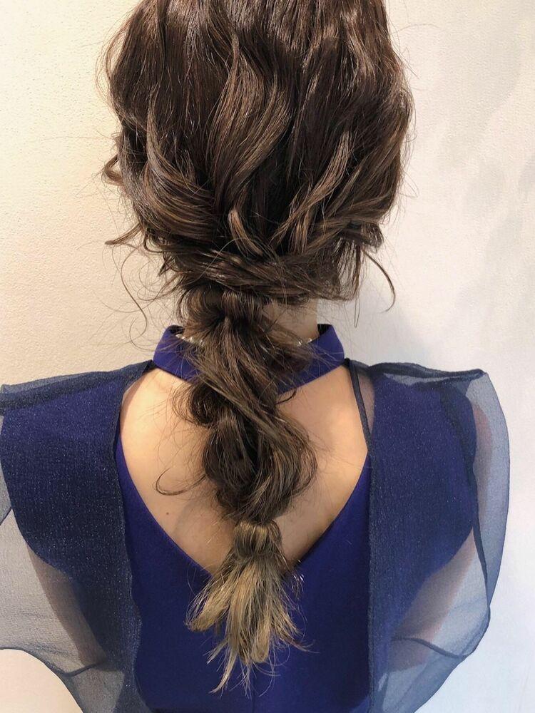 ハイトーン編み下ろしヘア