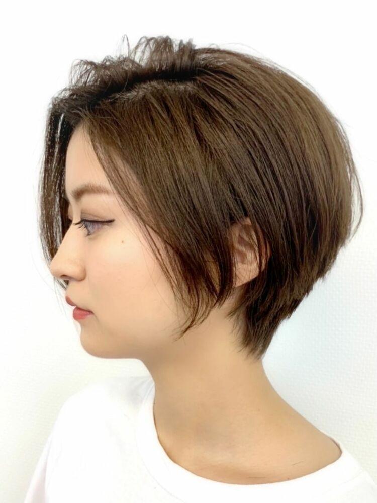 小顔ショート+立体カラー+髪質改善オージュアトリートメント