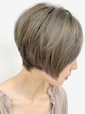 骨格補正ショート+ブリーチダブルカラー+髪質改善オージュアトリートメント