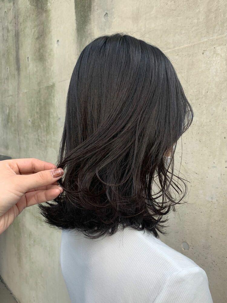 ブリーチなし就活カラー暗髪黒髪地毛風カラー透明感グレーカラースタイリング簡単くびれミディアム