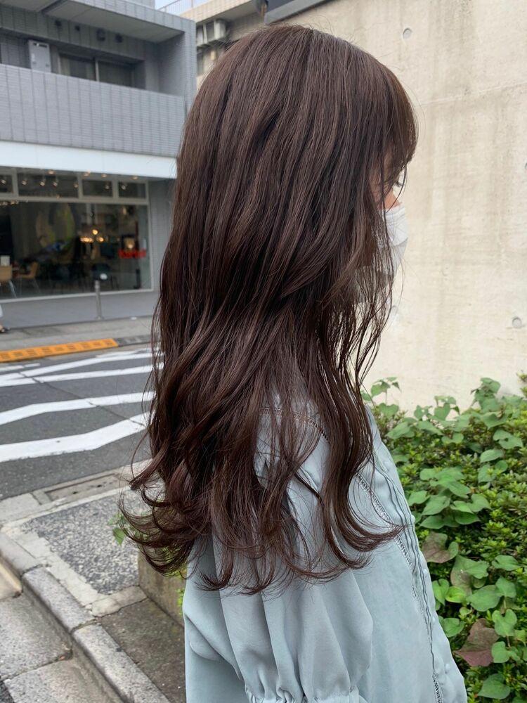 ブリーチなし大人可愛いショコラブラウンオフィスカラー暖色系カラー!艶髪ブラウンカラー