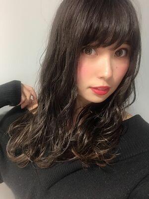 黒髪でも可愛くなれる小顔前髪&ゆるふわミックスパーマ☆