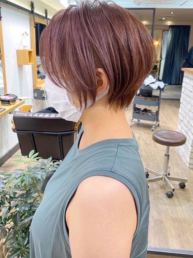 白髪ぼかしハイライト×ひし形くびれショートボブ【中村】