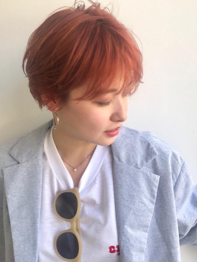 BALLOON HAIR 表参道 1ブリーチでつくるオレンジカラー マッシュショートハイトーンカラー