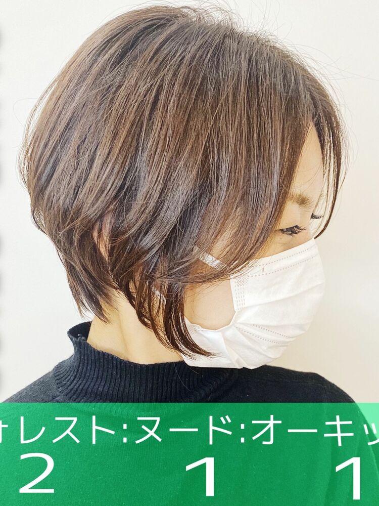 シアオリーブベージュ大人女子ショート☆Zina CENTRAL 銀座 出口 耕太郎