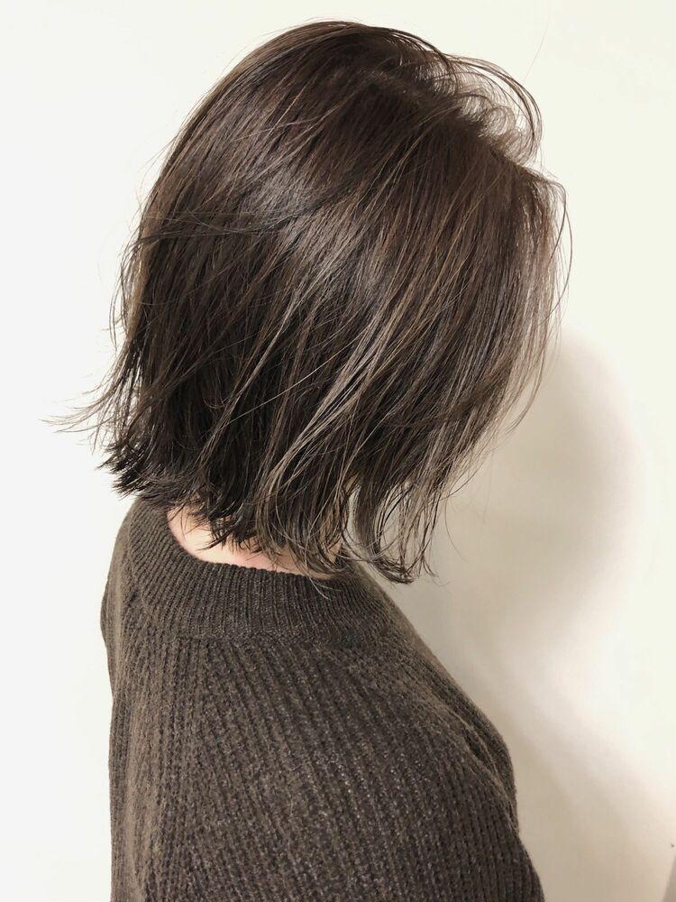 透け感3Dハイライトオリーブグレージュx切りっぱなしボブ 横浜 関内駅 Mira JUN