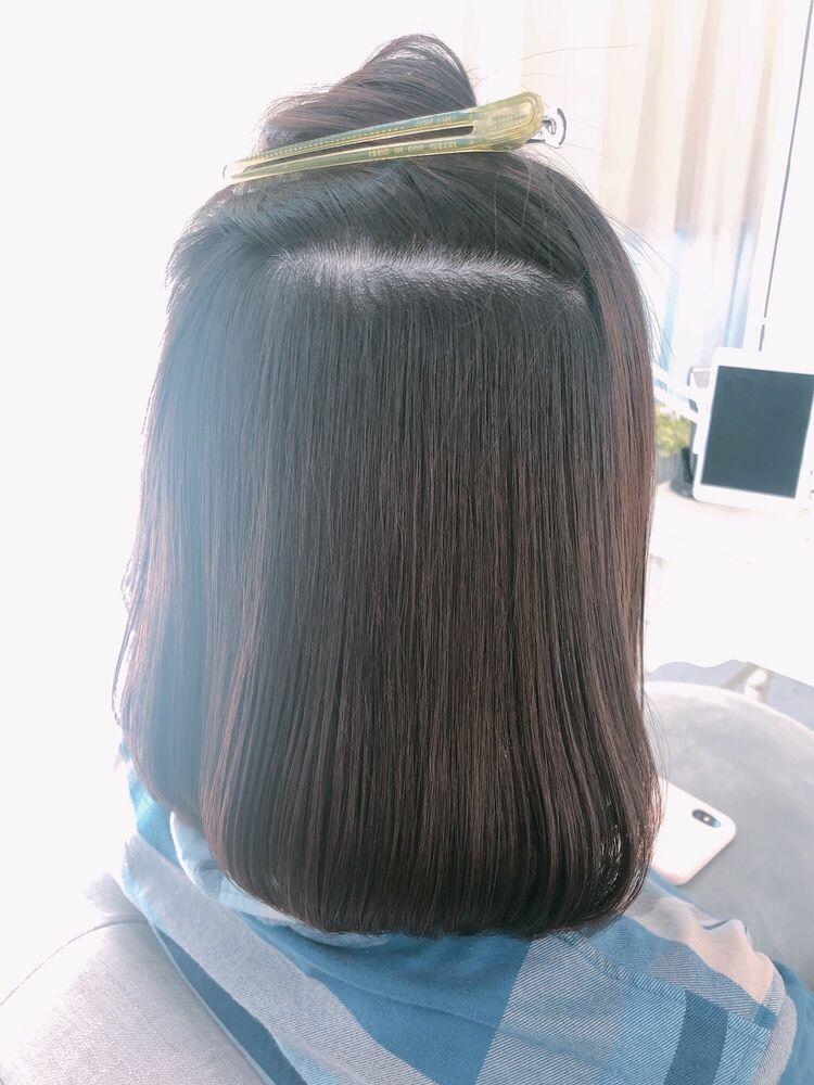 表参道 Lily 大野道寛 ☆ ボブ × 内巻き縮毛矯正(くせ毛でうねる、広がる方)