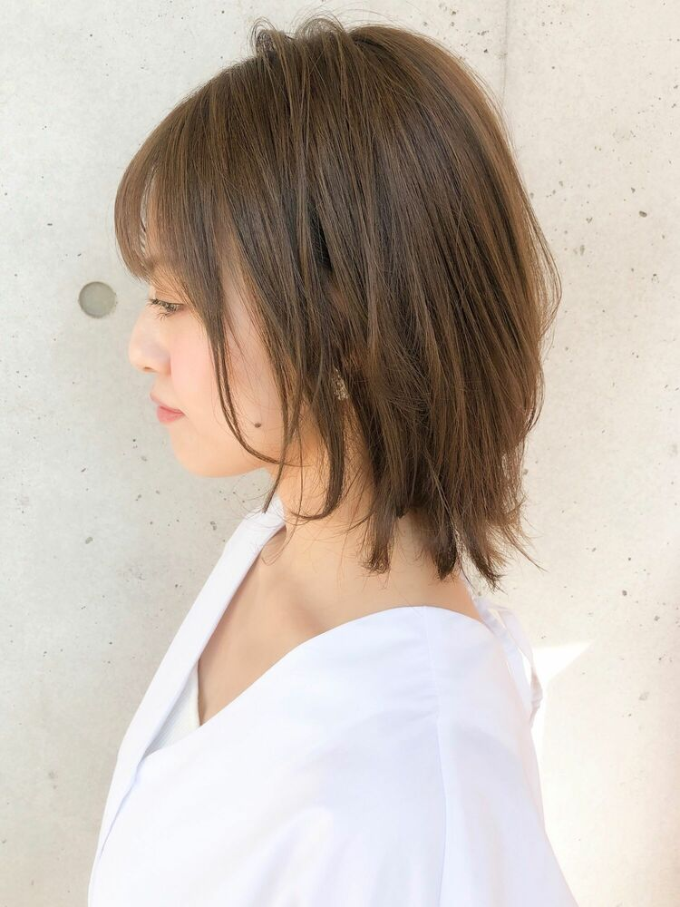 30代40代人気◎ダブルバング☆小顔ボブグラデーションカラー
