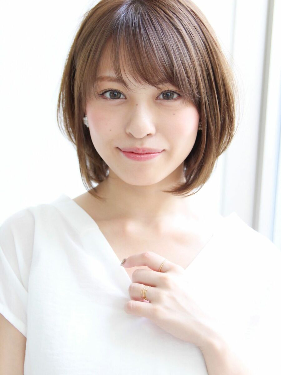 美髪ケア☆大人可愛いひし形小顔ボブ☆ことりベージュ毛先パーマ
