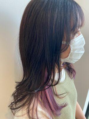 ピンク系インナーカラー☆