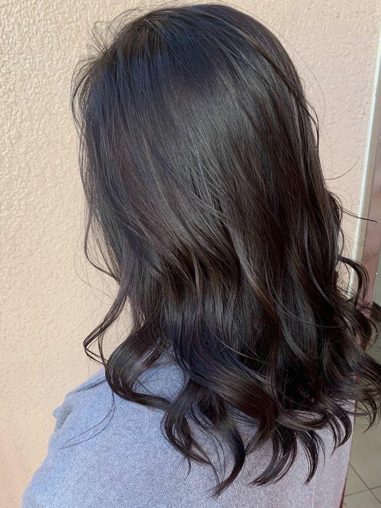 暗髪透明感カラーダークグレージュ!