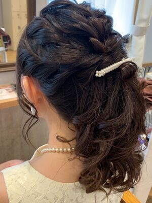 ポニーテールヘアセット/アップスタイル/結婚式ヘアセット