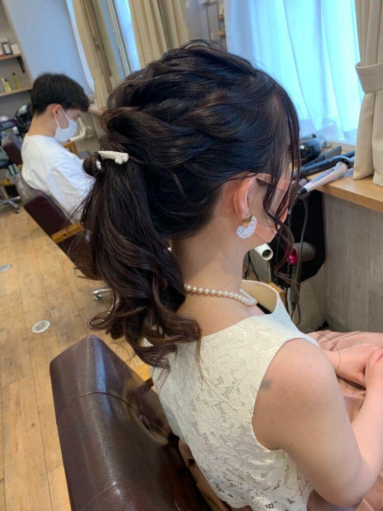 ヘアセット/アップヘア/結婚式ヘアセット/アレンジ/ポニーテールヘア