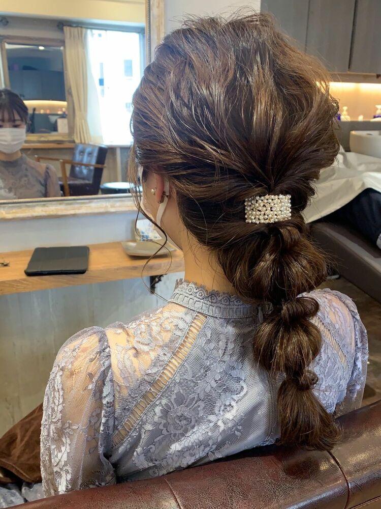 編み下ろしヘアセット/結婚式/二次会/お呼ばれ