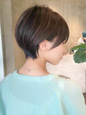 大人可愛い黒髪ショートボブ/20代30代40代/表参道美容室/髪質改善カット