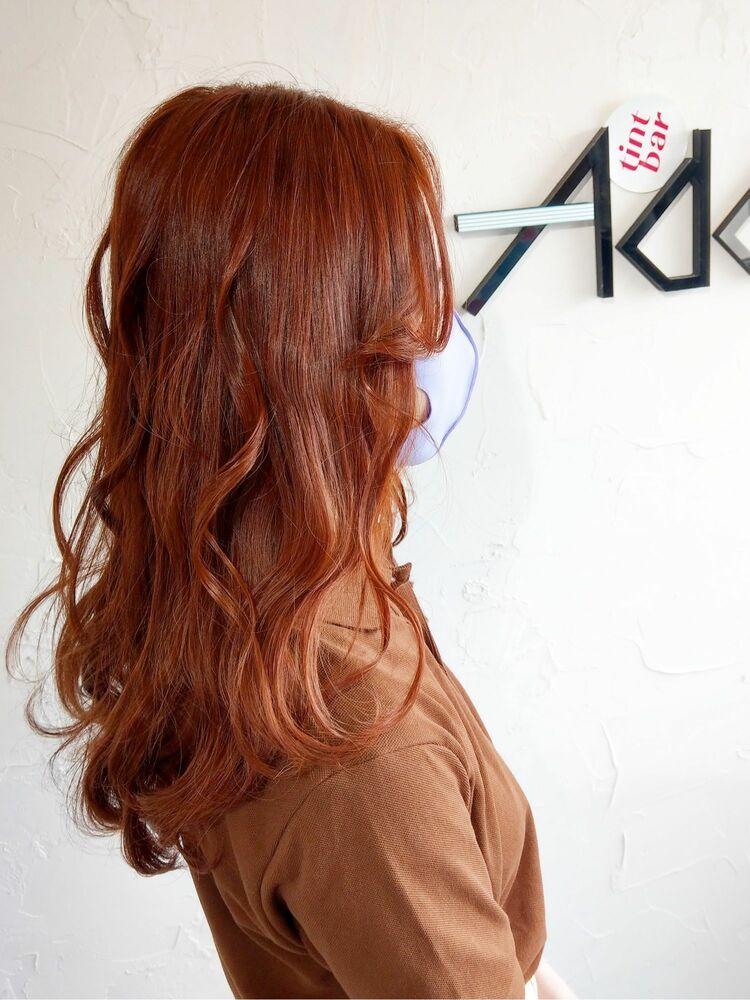 ケアブリーチ 韓国 艶感カラー レッドオレンジ 伊勢崎