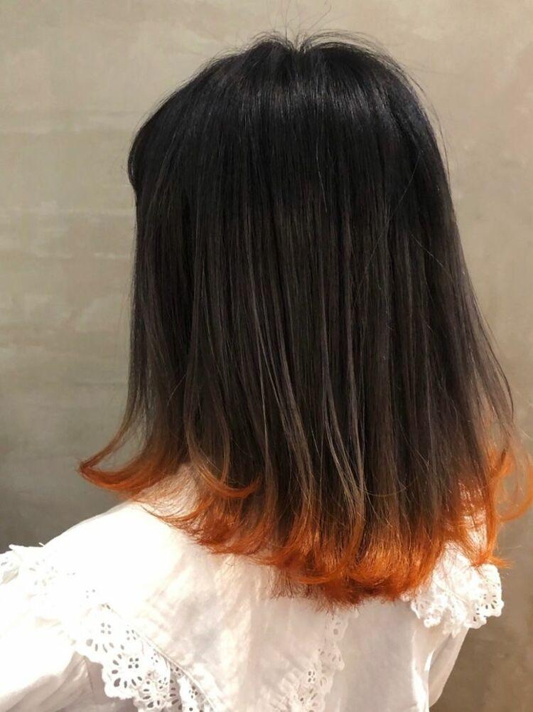オレンジの裾カラー*