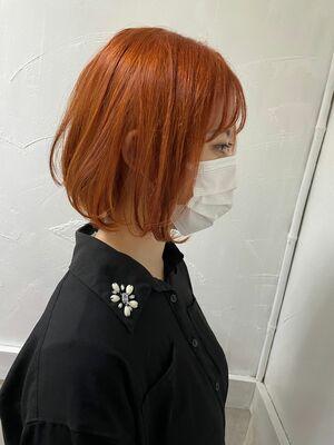 アプリコットオレンジ×ミニボブ