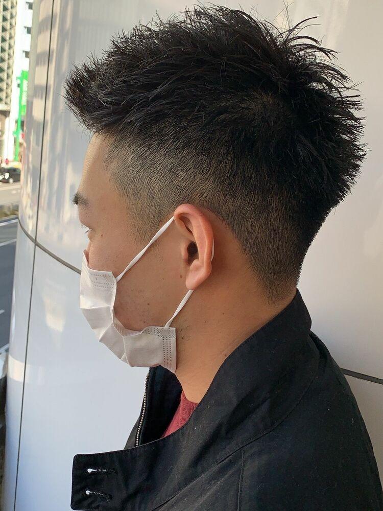 メンズ黒髪ベリーショート☆ナチュラルフェードスタイル☆