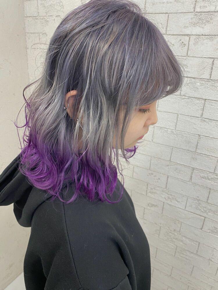 人気の裾カラー☆シルバーからパープルのグラデーション!
