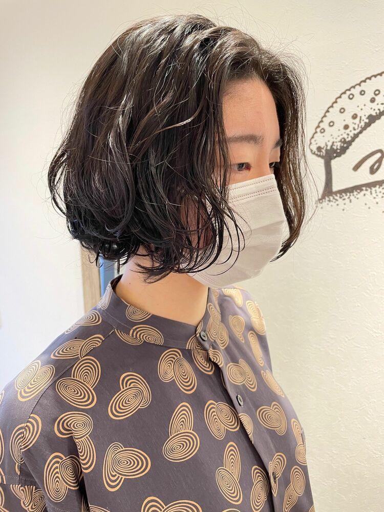 ゆるふわボブパーマ☆簡単スタイリング☆伸ばしかけ
