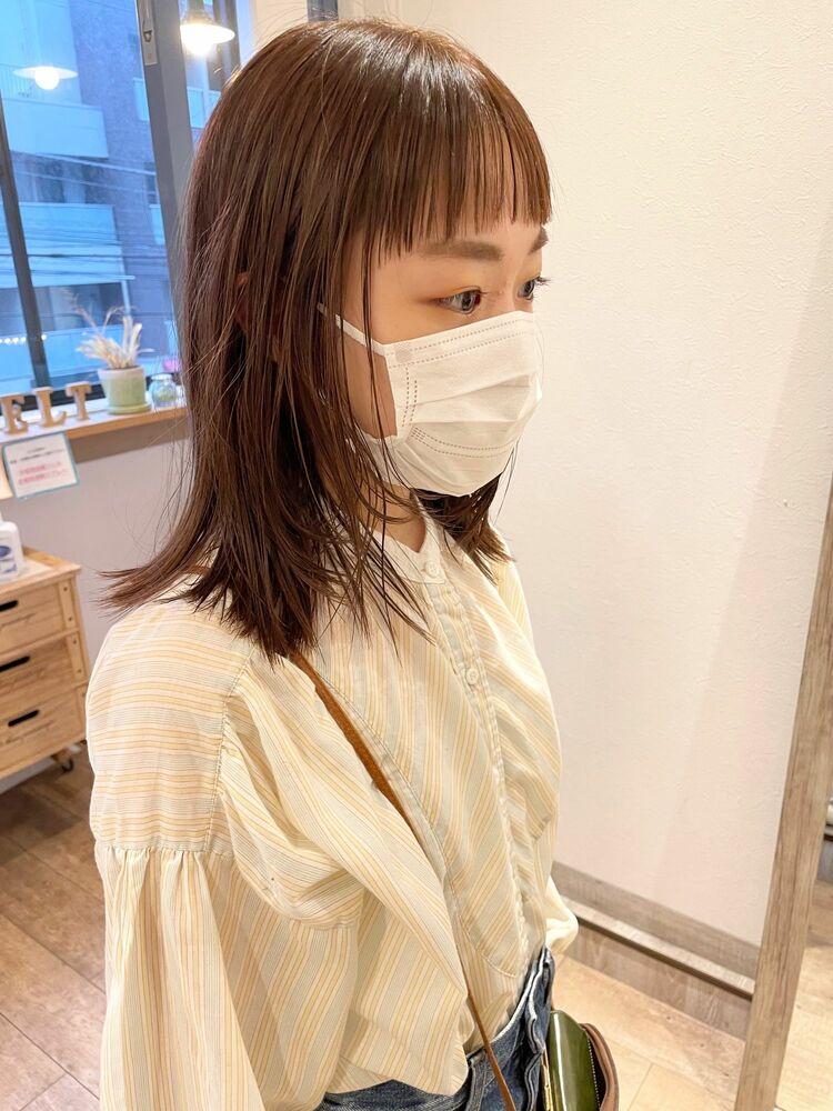 ミディアムレイヤーカット☆オン眉☆ワイドバング☆透明感ラベンダーベージュ