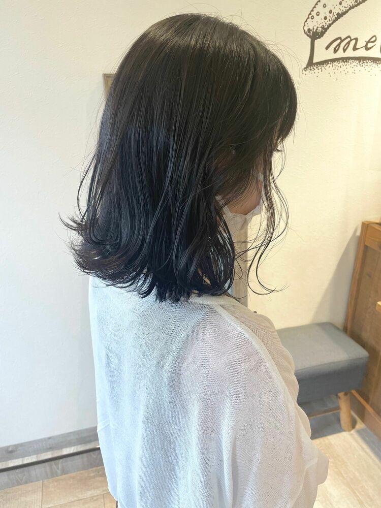 外ハネゆるミディ☆透け感暗髪☆透け感ブルーブラック