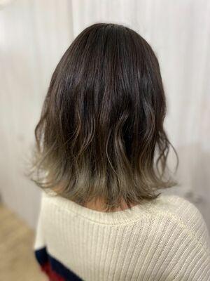 切りっぱなしボブ⭐︎裾カラー