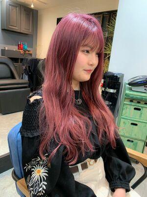 透明感カラー☆ハイトーン ピンクパープル カット+Wカラー10000円