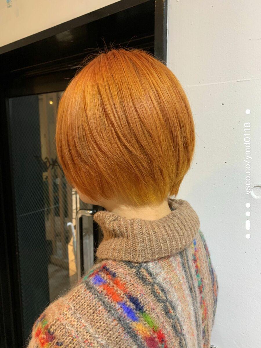 ハイトーン マッシュボブ オレンジュカット+Wカラー10000円