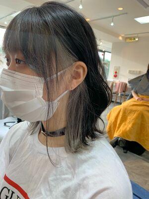 インナーカラー イメチェン ホワイトグレー カット+インナーカラー7500円