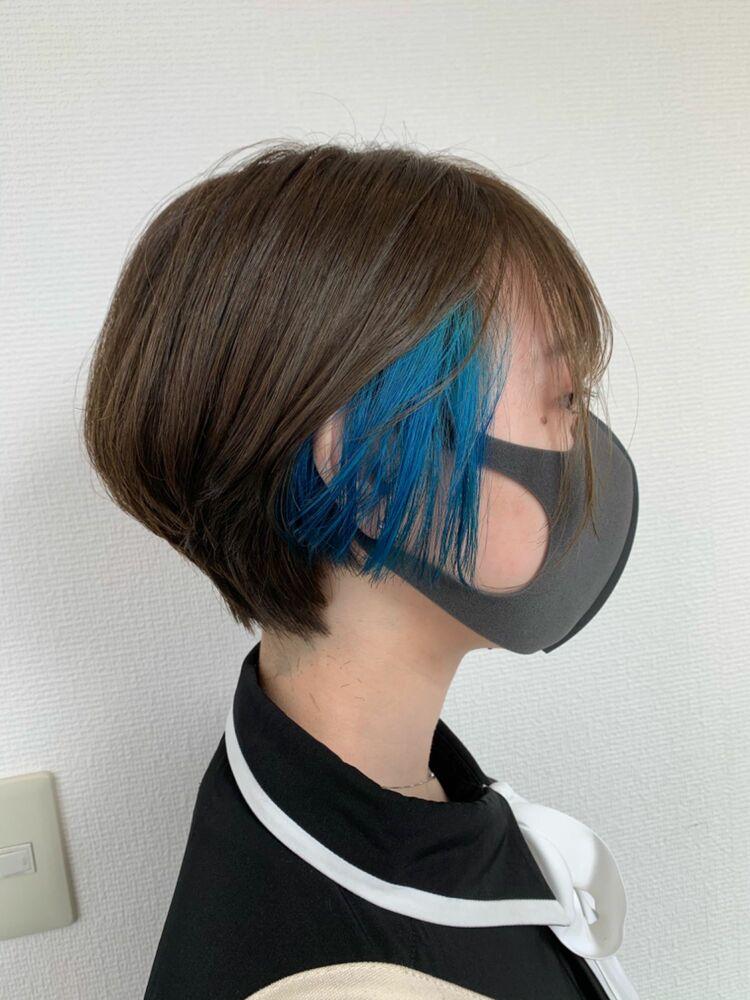 耳かけ インナーカラー ブルー カット+インナーカラー7500円