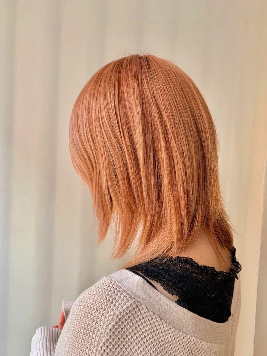 ハイトーン オレンジベージュ ブリーチ2回 カット+Wカラー10000円