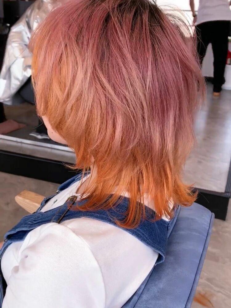 個性的 ネオウルフ グラデーション pink×Orange  Wカラー8500円