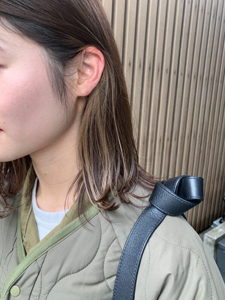 耳かけ イヤリングカラー 外ハネ カット+インナーカラー7500円