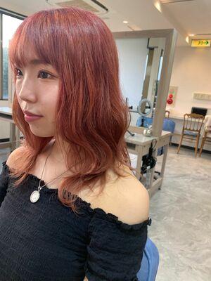 ハイトーン 波ウェーブ pink hair カット+Wカラー 10000円