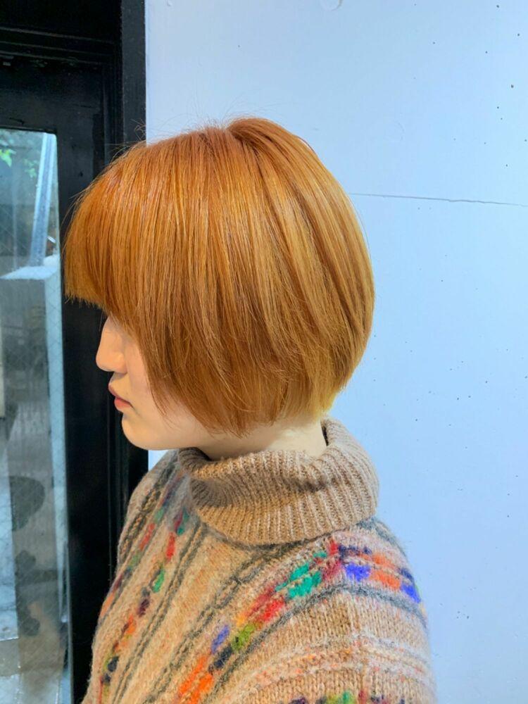 ハイトーン マッシュボブ オレンジヘア カット+Wカラー10000円