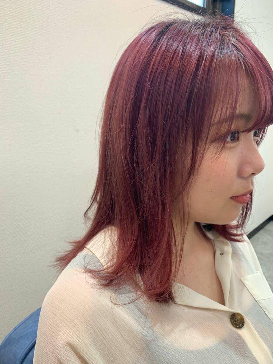 ハイトーン ボルドー pink カット+Wカラー10000円
