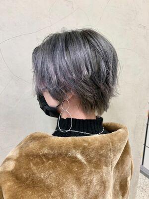 ハンサムショート☆ 外ハネ ブルーアッシュ カット+Wカラー10000円